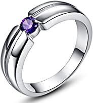 Veunora Ladies 925 Sterling Silver Created 3mm Amethyst Filled Ring Band