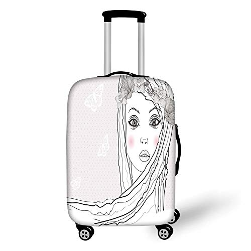 Travel Luggage Cover Suitcase Protector,Teen Room Decor,Baby Face Young Girl with Floral Wreath on Hair and Butterfly Design,Pearl Black White,for TravelM 23.6x31.8Inch