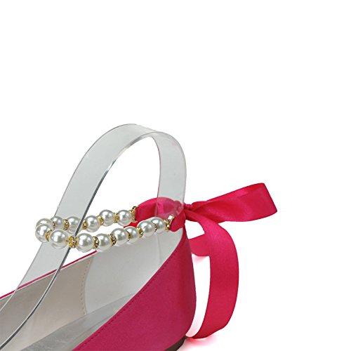 Donna Elegante Stiletto Heel Pumps Scarpe Bottoni Pieghe Rosso Rosso Cinturino