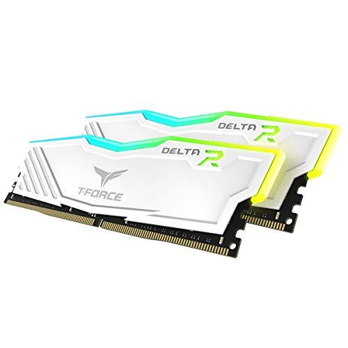 TEAMGROUP T-Force Delta RGB DDR4 16GB (2x8GB) 2666MHz (PC4-21300) CL15 Desktop Memory Module ram TF4D416G2666HC15BDC0 - White