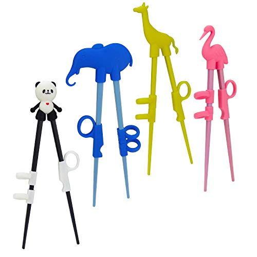 Plum Garden 4 pcs learning chopstick helper, Children's Training Chopsticks, Animals Chopsticks for childrens, adults and beginners