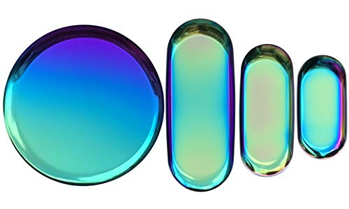 FREELOVE Stainless Steel Serving Plate, Fruit Food Storage Dish Salad Snack Bread Dessert Serving Platter Jewelry Display Trays (Rainbow Titanium Plating 4 Packs)
