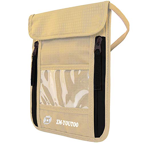 ZM-YOUTOO Travel Neck Hidden Money Pouch Neck Wallet with RFID Blocking Waterproof Passport Holder to Keep Cash and Documents Safe When Traveling (Khaki)