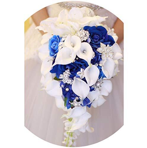 (Bridal Wedding Bouquet, Royal Blue Rose Wedding Bouquet Waterfall Crystal Artificial Flowers White Bridal Pearl Bride Bouquet Fleur Mariage,Blue)