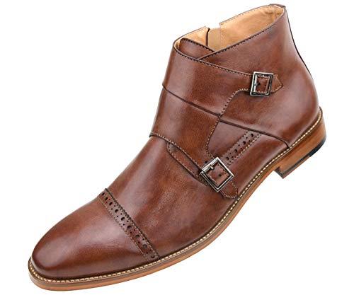 Amali Mens Dress Shoe Double Monk Strap Cap Toe Demi Boot with Inside Zipper, Style Caper Cognac ()
