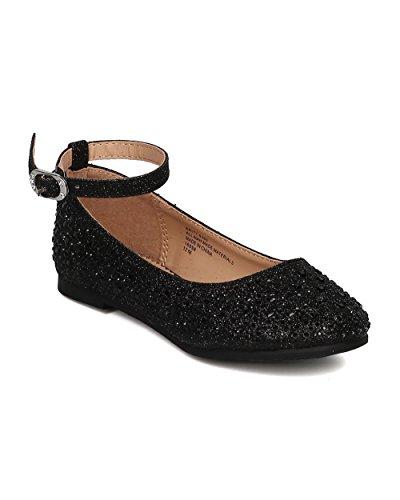 Girls Glitter Rhinestone Ballet Flat - (Toddler Girls / Little Girl / Big Girl) - Dressy, Formal, Performance - Ankle Strap Flat - GH29 By Little Angel - Black (Size: Little Kid (Girls Black Hazel Shoes)