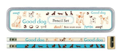 Cavallini Vintage Dogs 10 Pencils and 1 Sharpener