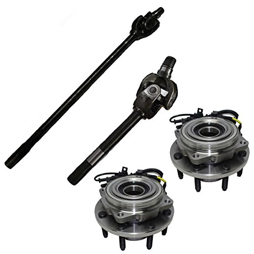 Detroit Axle - Pair Front U-Joint Axle Assembly Set & Front Wheel Bearing & Hub Kit for 2005-2010 Ford F-250 Super-Duty - [05-10 Ford F-350 Super Duty] Dana 60 Axle & Single Rear Wheels
