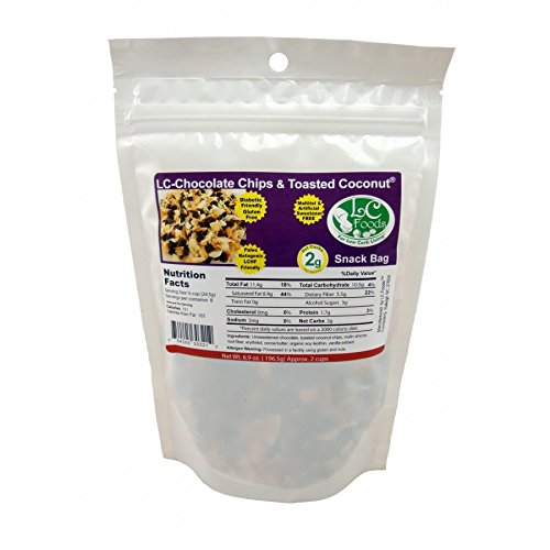 Low Carb Dark Chocolate Chip & Toasted Coconut Snack Bag - LC Foods - All Natural - Paleo - Gluten Free - No Sugar - Diabetic Friendly - 6.9 oz