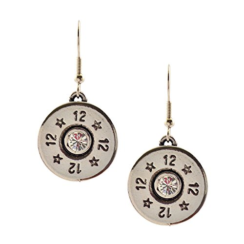 Southlife - Lizzy J's Silver Plated 12 Gauge Shotgun Shell Dangle Earrings with Clear Swarovski Crystal