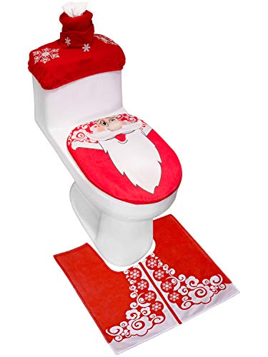 ANPHSIN 3 Pieces Santa Toilet Seat Cover and Rug Set- Red Christmas Decorations for Bathroom