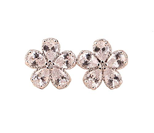 Hypoallergenic Flower Stud Earrings for Women Girls,18K White and Yellow Gold Plated CZ Daisy Studs 11mm. (1 Pair Clear)
