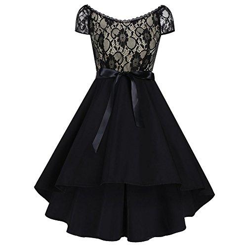 iShine Retro vestido de encaje (Con cinturón) Albaricoque