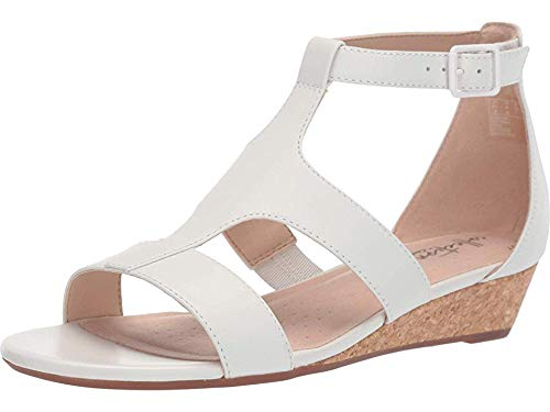 White Leather Wedge - Clarks Women's Abigail Lily Wedge Sandal, white leather, 7.5 M US