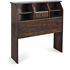 Rustic Cherry Finish Leighton Twin Bookcase Headboard Engineered Wood With A Laminate Finish Making It The Perfect Storage Space For An Alarm Clock, Reading Materials, Eyeglasses