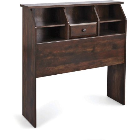Rustic Cherry Finish Leighton Twin Bookcase Headboard Engineered Wood With A Laminate Finish Making It The Perfect Storage Space For An Alarm Clock, Reading Materials, Eyeglasses -