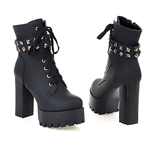 YE Damen Blockabsatz Plateau High Heel Stiefeletten mit Schnürung und Nieten Fell Warm Gefütterte 12cm Absatz Ankle Boots Schwarz