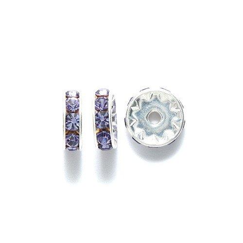 Preciosa Rhinestone Rondelle Beads, 10mm, Tanzanite, 24-piece