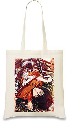 Attack On Unique Handbag Bags Use Natural Color Mikasa Custom 100 friendly Attaque Cotton Bag Tote Every Printed Shoulder usable Re Stylish By amp; Day For Eco Du Soft Titan Twq1qtI