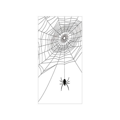 Decorative Privacy Window Film/Complex Doodle Net Sticky Gossamer Hunting Insect Catch Danger Prey Spooky Decorative/No-Glue Self Static Cling for Home Bedroom Bathroom Kitchen Office Decor Black Whit