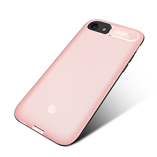 iPhone 6/6s/8/7 Battery Case, Guojia 5500mAh Extended Slim Rechargeable External Battery Portable Power Charger Protective Charging Case for Apple iPhone 6/6s/8/7 (4.7 Inch)-High-Capacity-Pink