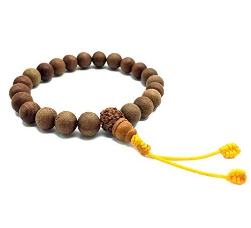 Healing Lama 10MM Beads Genuine Himalayan Sandlewood Tibetan Meditation Prayer Bracelet. with Rudrakshya Guru Bead. Yoga Bracelet.