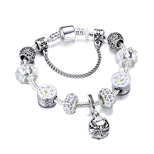 PHKYT Women Vintage Silver Color Charm Bracelet with Pendant & Gold Crystal Ball - Gold 20 Crystal Jubilee