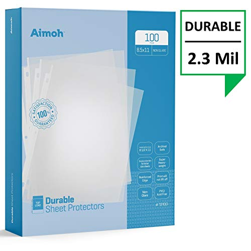 Aimoh Durable Reference Non-Glare Sheet Protectors 100-Count - Page Size - Fits 8.5 x 11 Paper - Reinforced Edge - 3 Hole Design - 9.25 x 11.25 - Top Load (13100)