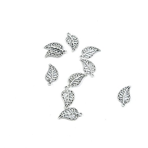 3900 Pieces Antique Silver Tone Jewelry Making Charms Findings Fashion Wholesale Supplies Pendant Lots Bulk Supply SC2414 Leaf Leaves