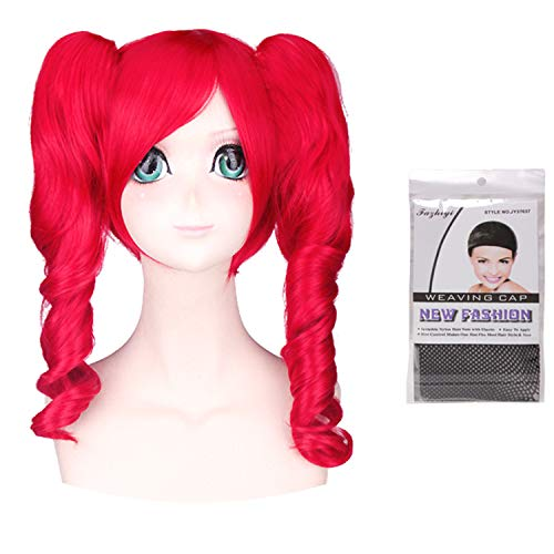 Women Girls Lolita Kawaii Japanese Anime Cosplay Party 2 Ponytails Lovely Curly Red Wigs with Wig Cap Set