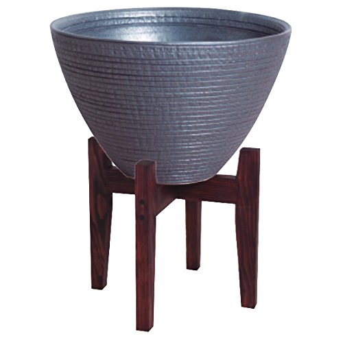 プラスガーデン 水蓮鉢 シェル 木製スタンド付 Φ300mm 底穴なし ブラック 信楽焼 530-32 B00OC9LCES