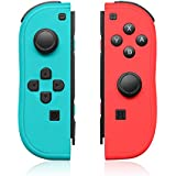 QUMOX Controller Replacement for N-Switch,Left and Right Controllers with Straps Support Wake-up Function (Blue and Red)