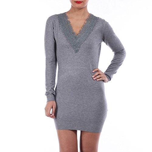 La Modeuse-vestido-Jersey de malla fina gris
