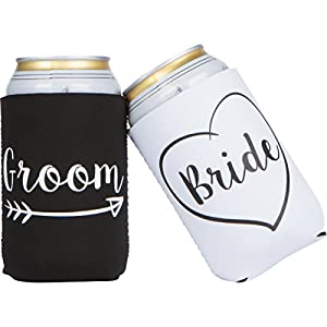 Best Epic Trends 4113S%2B-eSAL._SS300_ Cute Wedding Gifts - Bride and Groom Novelty Can Cooler Combo - Engagement Gift for Couples