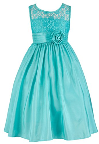Dance Tea (Wonder Girl Kate Big Girls' Lace Taffeta Tea Length Long Dress 6 Emerald)