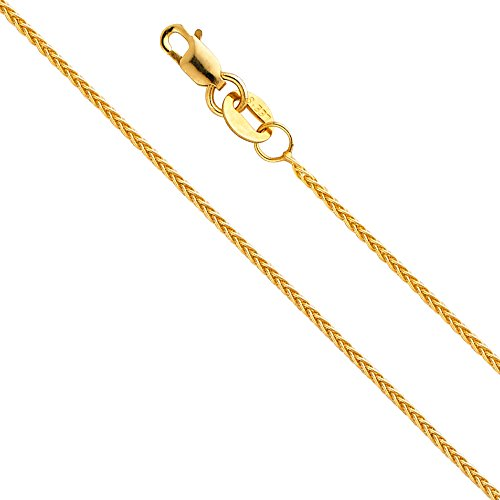 - 14k Yellow Gold SOLID 0.8mm Braided Wheat Chain Necklace with Lobster Claw Clasp - 18