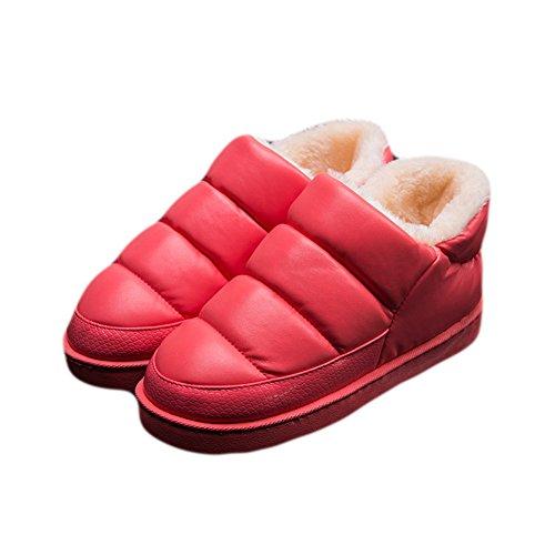 Cyber hiver Chaud Pantoufle Anti-dérapant Confortable Maison Chaussures Rouge