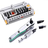 10 Bits Portable Ratchet Screwdrivers Set with High Torque Reversible Drive Handle and Extension Bits Holder by Towerwin