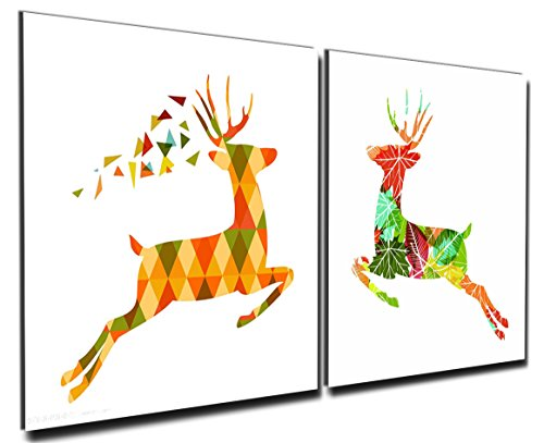 Gardenia Art - Geometry Cute Deers Canvas Prints Modern Wall Art Abstract Paintings Stretched and Framed Artwork for Room Decoration,12x12 inch, Framed, 2 pce/set
