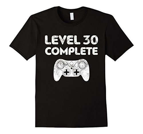 Mens Level 30 Complete T-Shirt Video Gamer 30th Birthday Gift 2XL Black