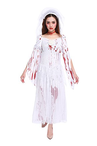 Make A Zombie Bride Costume (Honeystore Women's Zombie Ghost Bride Costume Horror Fancy Dress Halloween)