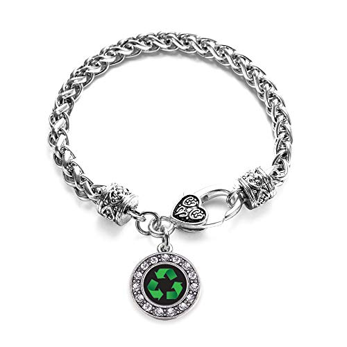 Inspired Silver - Recycle Braided Bracelet for Women - Silver Circle Charm Bracelet with Cubic Zirconia Jewelry