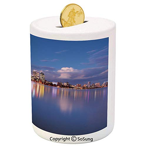 SoSung Modern Ceramic Piggy Bank,Skyline of Perth Western Australia at Night Dramatic Urban Swan River Scenery Decorative 3D Printed Ceramic Coin Bank Money Box for Kids & Adults,Violet Blue Amber