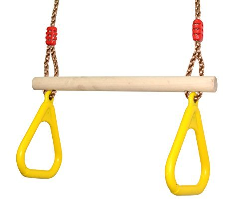 COMINGFIT? Indoor Outdoor Wooden Trapeze Swing with Plastic Triangular Gym Rings for Kids by COMINGFIT