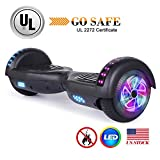 """jolege 6.5"""" Hoverboard UL 2272 Certified Self Balancing Scooter with Flash Wheel LED Light Self Balancing Electric Hoverboard with Free Carry Bag-Black"""