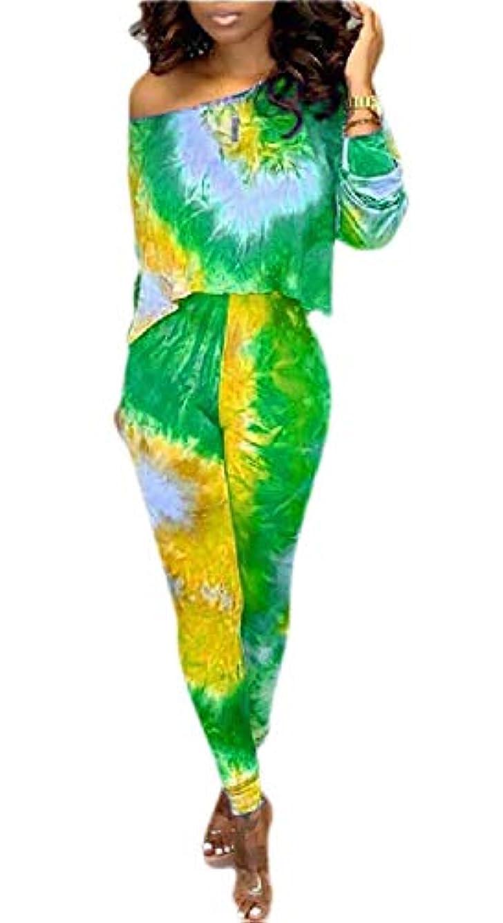 夜明けに電卓センサーKeaac Women's Tie-dye Outfit One Shoulder Long Sleeve Tops Pants Running Tracksuit