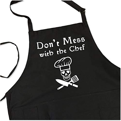 Don't Mess with The Chef Apron - Funny Saying Pirate Cook Apron - 1 Size Fits All Chef Quality Poly/Cotton with 4 Utility Pockets, Adjustable Neck and Extra Long Waist -
