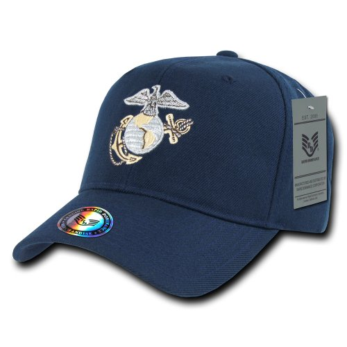 Rapiddominance Marines Snap Back Metallic Embroidery Cap, Navy