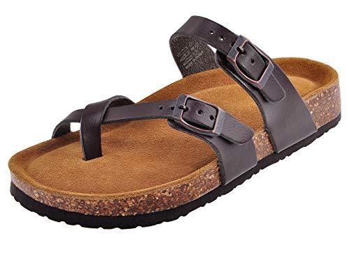 MIXIN Womens Comfy Slide Flat Cork Footbed Sandals Brown 7 - Slide Cork