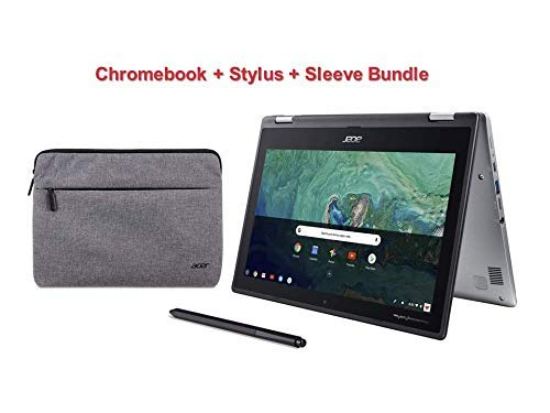 "Newest Acer Convertible 2-in-1 Metal Body Chromebook Bundle-11.6"" HD IPS Touchscreen, Intel Celeron N3350 Processor, 4GB RAM, 32GB SSD, Chrome OS-(Renewed) (Silver Laptop+Stylus+Sleeve)"